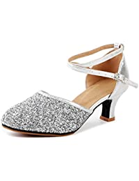 1eaf2734fa3 ... Mary Janes   Silver. OCHENTA Womens Sequined Leather Pointed Toe Kitten  Heel Latin Ballroom Dance Shoes