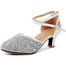 17371eb2f846 OCHENTA Femme Chaussure de Danse Latine à Talon Hauteur 3.5 CM Sexy Boucle  Paillettes