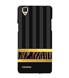 Golden Line Zebra Pattern 3D Hard Polycarbonate Designer Back Case Cover for Oppo F1