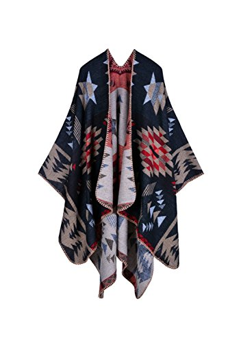YACUN Damen Winter Reversible überdimensioniert Decke Poncho Cape Schal Schals Red F Reversible Poncho