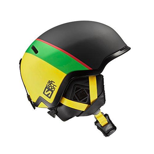 Salomon, casco da sci e snowboard da uomo per snowpark, interno in mousse eps 4d, taglia s, circonferenza 53-56 cm, hacker, nero/verde/giallo, l39042100