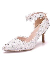741ea3f4 Zapatos de boda para la novia blanca 7.8 cms tacones de aguja con encaje y  diamantes