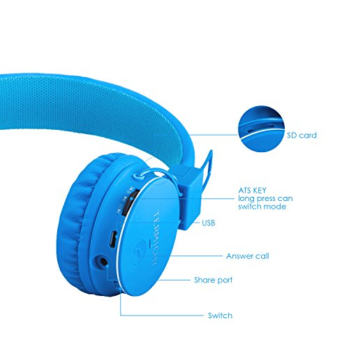 Volume Limited + Wireless Bluetooth Kids Headphones, Termichy wireless/wired Foldable Stereo over-Ear headsets with music share port and Built-in Microphone for calling, children Bluetooth Earphones for smartphones PC music gaming. Blue