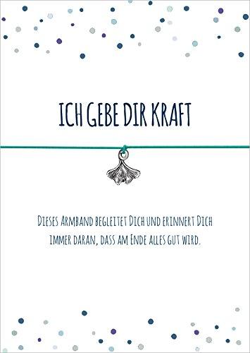 Kraft Armband mit Ginko Blatt Anhänger versilbert, mit elastischem Textilband in türkis und liebevoller Karte: …dass am Ende alles Gut wird.