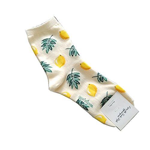 LQZ Socken Wintersocken Stricksocken Baumwolle Damensocken - Zitrone
