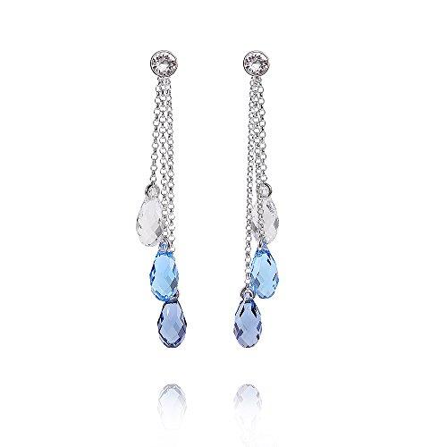MATERIA Damen Kristall Chandelier Ohrstecker Tropfen 925 Silber mit Swarovski Crystals 9x54mm #SWO-7, Farbe:blau