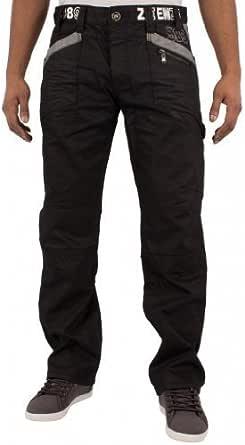 Enzo Mens Designer Branded Black Coated Denim Casual Jeans Pants Waist Sizes 28-48