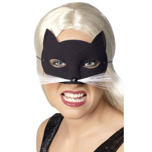 Smiffys Halloween Karneval Maske Katze mit Schnurrhaar und Nase zum Kostüm