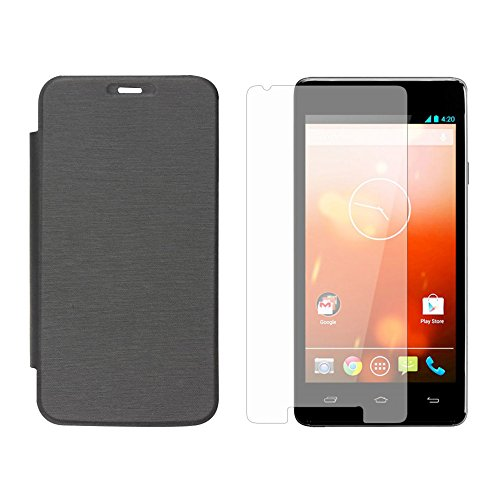 Inktree brand cover for Micromax Canvas A106 Unite2 Flip Cover Black color, Glossy Finish + free screen Guard