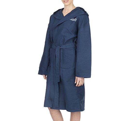 arena Unisex Mikrofaser Bademantel Zeal (Leicht, Schnelltrocknend, Große Kapuze, Bindegürtel, 2 Taschen), blau (Navy-White), XL