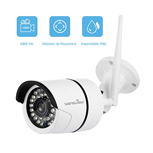 Wansview Caméra Ip Extérieur,Caméra de Sécurité 1080P sans Fil, Etanche IP66/Vision Nocturne W2...