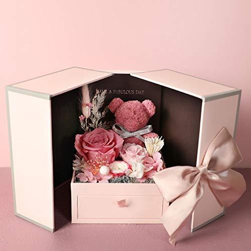 CFLYSH Ewige Blume Geschenkbox Cub Rose Bouquet Schmuckschatulle Geburtstagsgeschenk Valentinstag Kreative Geschenke Sende Freundinnen Freundinnen, Box Her Mind - Bear -