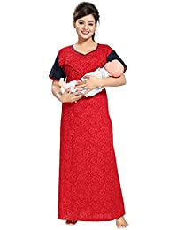TUCUTE Women's Cotton Self Printed Feeding/Maternity / Nursing Nighty