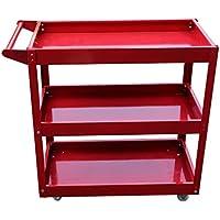 Homgrace Carro de herramientas de 3 niveles con ruedas para cocina, almacén, garaje, carga hasta 200KG, 66 x 35 x 71cm (rojo)