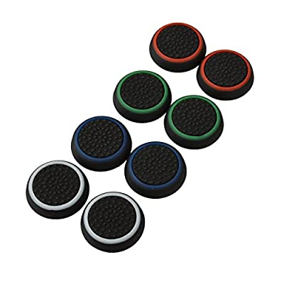 4 Pair / 8 Pcs Replacement Luminous Silicone Thumb Grip Stick Analog Joystick Grips Caps Cover for PS3 / PS4 / Xbox 360 / Xbox One Game Controllers Black by BoomTeck