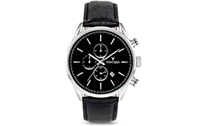 Vincero Luxury Men's Chrono S Wrist Watch - Black/Silver with Black Leather Watch Band - 43mm Chronograph Watch - Japanese Quartz Movement