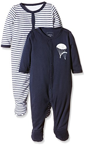 NAME IT Baby-Jungen NITNIGHTSUIT W/F NB B NOOS Schlafstrampler, Mehrfarbig (Dress Blues), 62 (2erPack)