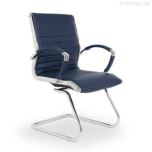 VERSEE Design Besucherstuhl Montreal -- Echt-Leder -- blau -- Konferenzstuhl, Freischwinger, Schwingstuhl, Meetingstuhl, Besprechungsstuhl, Bürodstuhl, mit Armlehnen, Ergonomisch, massives Metall-gestell in Chrom, niedrige Rückenlehne, Designklassiker, hochwertige Verarbeitung, Büro Sessel, 150 kg belastbarkeit