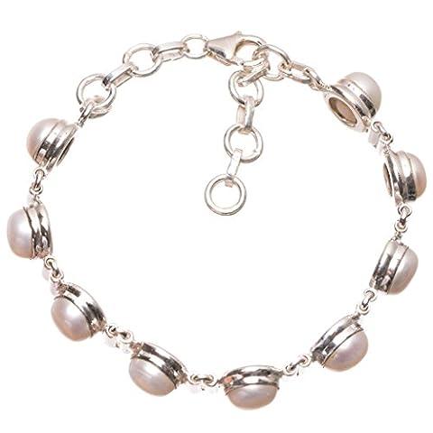 StarGems(tm) Natural River Pearl Handmade Vintage 925 Sterling Silver Bracelet 6 3/4-7 1/2
