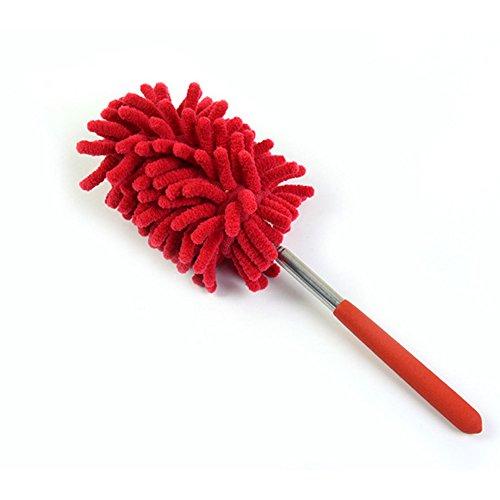 GeTong Duster Entferner Creative Ausziehbares Haushalt Reinigung Duster Sweep Staub Bürste Mikrofaser Ausziehbares Dusters Reinigung Werkzeug, Grün rot rot S (Draht Deckenventilator Roten)