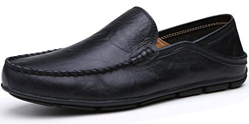 Lapens Men's Loafers Casual Flat Leather Fashion Slipper Casual Slip On Driving Outdoor Shoes LPLFS137-Bl41