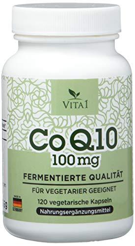 VITA1 Coenzym Q10 100mg • 120 Kapseln (4 Monate Vorrat) • Glutenfrei, vegan, koscher & halal • Hergestellt in Deutschland