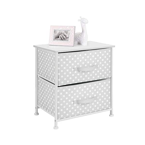 mDesign Chest of Drawers - Children's Bedroom Storage System with 2 Drawers and Flat Top - Nursery Storage Unit with Polka Dot Design - Grey/White mDesign SWEET STORAGE: This 2-drawer side table is a must-have accent to complement any child's room. The grey fabric is adorned with a sweet white polka dot pattern. STORE ANYTHING: The bedroom drawers are a versatile unit and can be filled with anything. Use to store toys, accessories, clothes, books, nappies and more. VERSATILE UNIT: Although the unit works best as bedroom storage, its uses do not stop there. Place in play rooms, nurseries and other child-specific areas of the home. 1