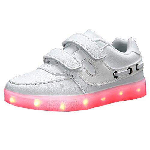 SGoodshoes Garçon Fille Sneakers enfants 7 Couleurs Lumière clignotante Chaussures LED Luminous Sneakers Blanc