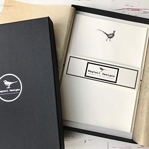 Stelzen (Gattung) Designs Briefpapier Geschenk-Set mit einem Fasan Design in einer hübschen schwarzen Box mit Band (18)