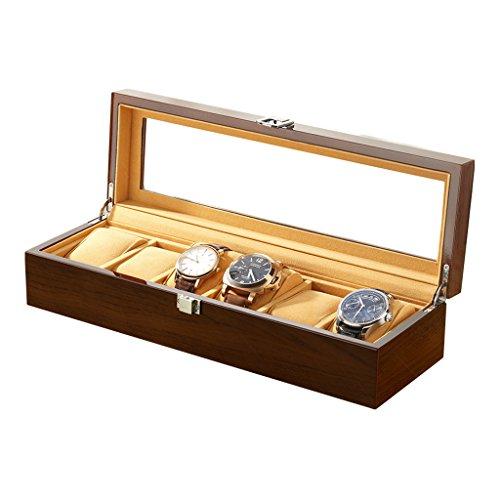 Holz Geschenkbox Schmuck Box 6 Slot Holz Uhrenbox Schmuck Display Aufbewahrungsboxen mit Glasplatte und abnehmbaren Speicher Kissen braun + schwarz,brown (Schuh-speicher-box)