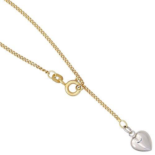 Fußkette Fußkettchen Fußschmuck mit Herz 585 Gold Gelbgold 23-25cm Goldkette