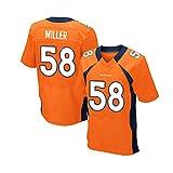 Rugby Hommes Jersey, Denver Broncos, Von Miller # 58, Manches Courtes Maillot, Vêtements de Sport Football américain (Color : Orange, Size : XXL)
