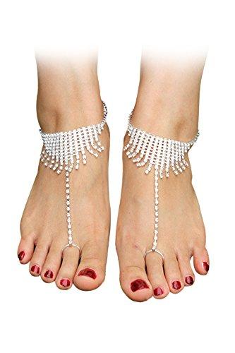 Vococal - 1 coppia mano alla caviglia bracciale catena sandali a piedi nudi stile strass nappa / spiaggia di estate scarpe gioielli piede per festa di nozze damigelle sposa balli latino donne signore