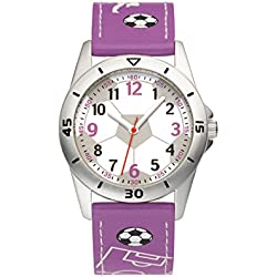 Rodania Football girl's quartz Watch with white Dial analogue Display and purple leather Strap RF2606050