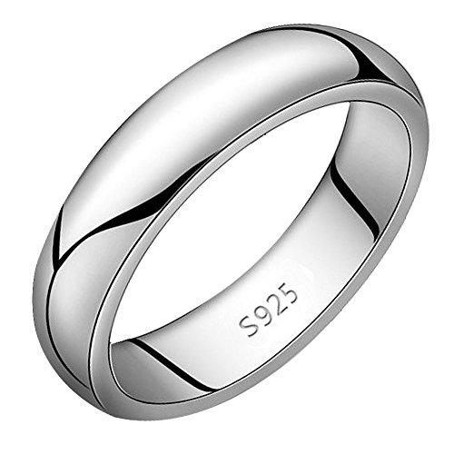 Viyino Ladies Mens Unisex Wedding Ring 925 SilverHighly Polished Wedding Ring (T)