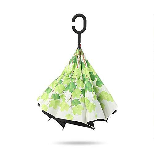 Paraguas Plegable inverso Doble invertido Resistentes a la atmósfera Fresca pequeña sombrilla para Hombres Mujeres de Coches, como Show3