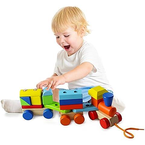 ACOOLTOY Legno Geometriche Blocchi dei Treni Costruzione Stacking Kit di Montaggio Giocattolo Tirare Lungo Puzzle (Blocchi Treno)