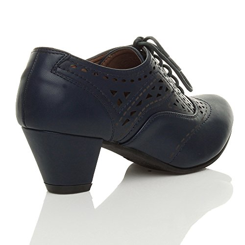 Donna tacco medio ritagliare con stringhe francesina richelieu scarpone stivaletti bottini taglia Blu scuro ritagliare