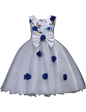 Ragazza Abito Tulle Fiori Principessa Festa di compleanno Tutu Elegante Abito da Sposa per Bambina Carnevale Costume