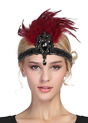 EEVASS Damen Flapper Stirnband mit Feder Kostüm Accessoires -