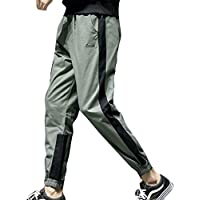 cheyuan Unisex Paar Baggy Pocket Mid-Waist Pants Erwachsene Buchstaben Drucken Micro-Elastic Hose Outdoor Street Walking Jogginghose Streifen Kontrastfarbe Polyester Beam Fußhosen