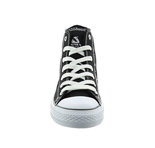 Jumex Damen Sneakers High Schwarz Black Schnürer Schuhe Freizeit Schwarz