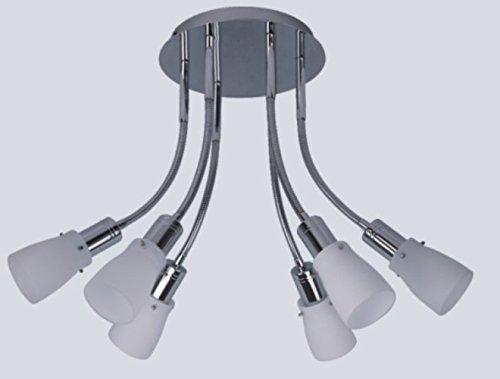 Dapo Energiesparende Decken-Pendelleuchte Zara 6 flammig Chrom Opalglas und Flexarmen, inklusive Leuchtmittel Wohn-Esszimmer-Arbeits-Lampe