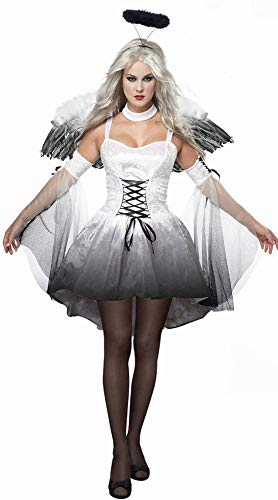 XXF Schwarz Sexy Halloween Dark Angel Kostüm Anziehende Uniform Spiel Zombie Kostüm Weibliche Geist Braut Teufel Tragen,Weiß,XL