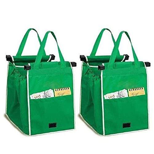 Lcjtaifu Aufbewahrungstasche 2pcs Dicke grüne Supermarkt Warenkorb Einkaufstasche Aufbewahrungstasche Vlies Einkaufstasche -
