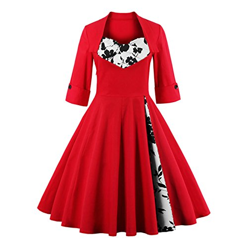 Dissa Damen 50er Retro Cocktail Vintage Rockabilly Kleid,Rot 1323-Rote Rose