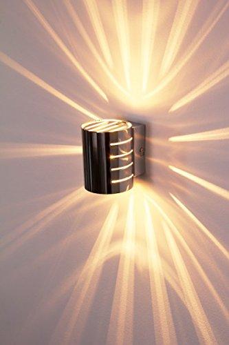 Chrom Wandleuchte Lampe (Wandleuchte Ponte in Chrom - Wand Lampe mit tollen Licht-und Schatteneffekten - Wohnzimmer Wandlampe mit sternförmigem Lichteinfall und Schalter)