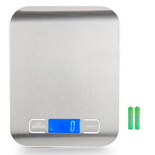 Musou Báscula Digital para Cocina de Acero Inoxidable, 5kg / 11 lbs, Balanza de Alimentos Multifuncional, Color Plata (Baterías Incluidas)