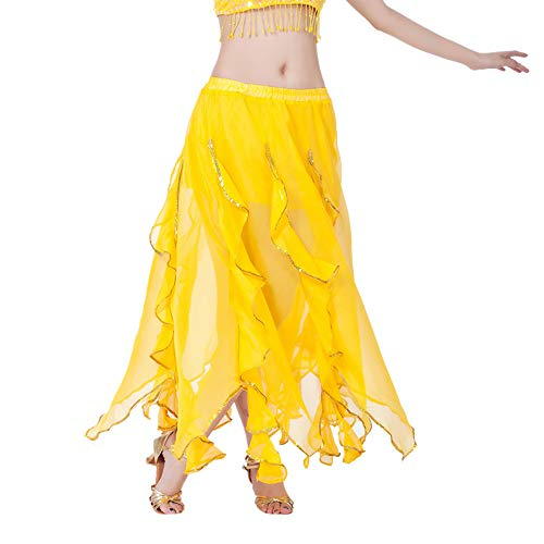 Damen Sequin Side Split Rock Chiffon Belly Dance Performance Rock