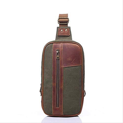 VBNM Rucksack Canvas Tasche Herren Schulter Retro Brusttasche Herren Umhängetasche Große Kapazität Brusttasche Armee Grün -